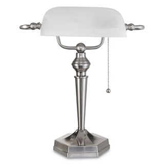 "Link to Alera Banker's Lamp, Post Neck, 16"" High, Brushed Nickel Similar Items in Desk Lamps"