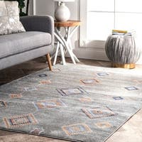 The Curated Nomad Kahlo Contemporary Abstract Aztec Geometric Area Rug