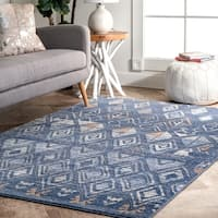 The Curated Nomad Kahlo Transitional Majectic Diamond Aztec Ombre Area Rug