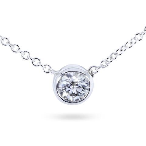 "Annello by Kobelli 14k Gold 1/4 Carat Lab Grown Diamond Solitaire Bezel 16"" Necklace - Multiple Color Options"