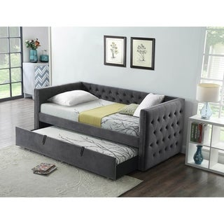 Best Quality Furniture Velvet Upholstered Twin Daybed with Trundle Bed
