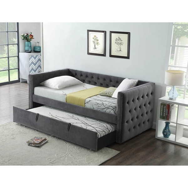 Trundle Bed.Best Quality Furniture Velvet Upholstered Twin Daybed With Trundle Bed