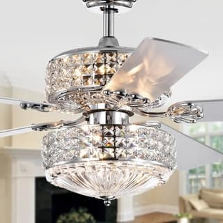 Germane Chrome Dual Lamp 52-inch Lighted Ceiling Fan w Crystal Shades (incl. Remote & 2 Color Option Blades)