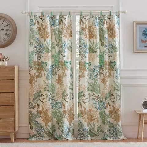 "Porch & Den Gwinn Jade Green Coastal Curtain Panel Set (Set of 2) - 42""W x 84""L"