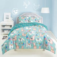 Dream Factory Llama Rama 3-piece Cotton Comforter Set - Aqua