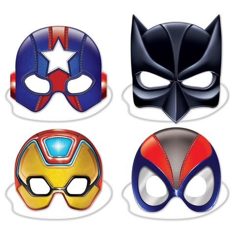 Beistle 8-inch to 10-inch Deluxe Hero Costume Party Masks (Set of 12)