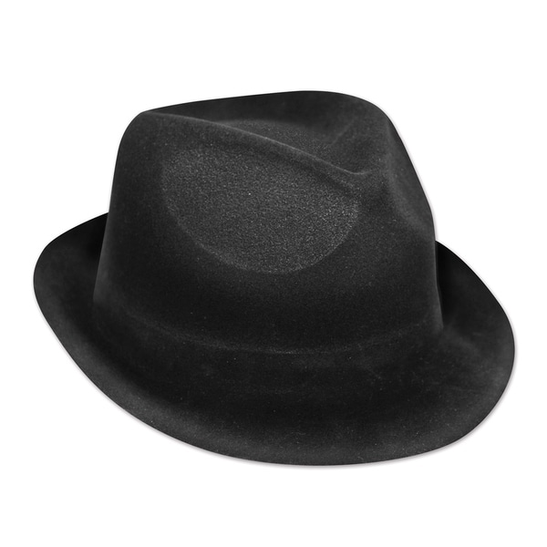 Beistle Black Plastic 20s Theme Backed Velour Costume Party Chairman Hat (Set of 25)