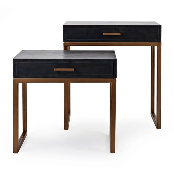 Shop Spacious Mango Wood Gold Side Table Set Of 2 Free Shipping