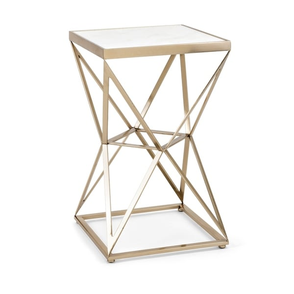 Modern Style Iron Frame Accent Table with Inserted Marble Top ,White and Gold