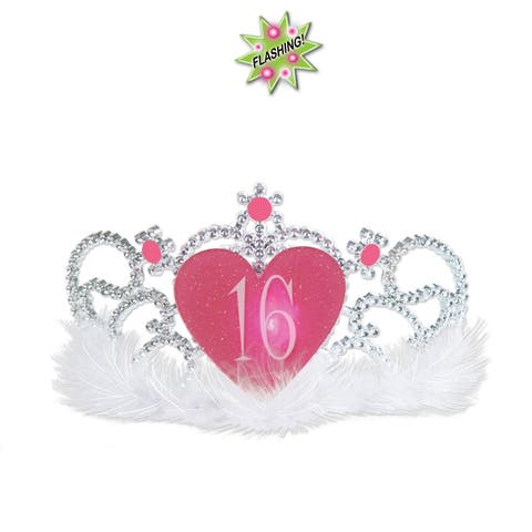 """Beistle Plastic Light Up Sweet """"16"""" Party Tiara with Faux Gemstones and Marabou Trim - 6 Pack (1/Card)"""