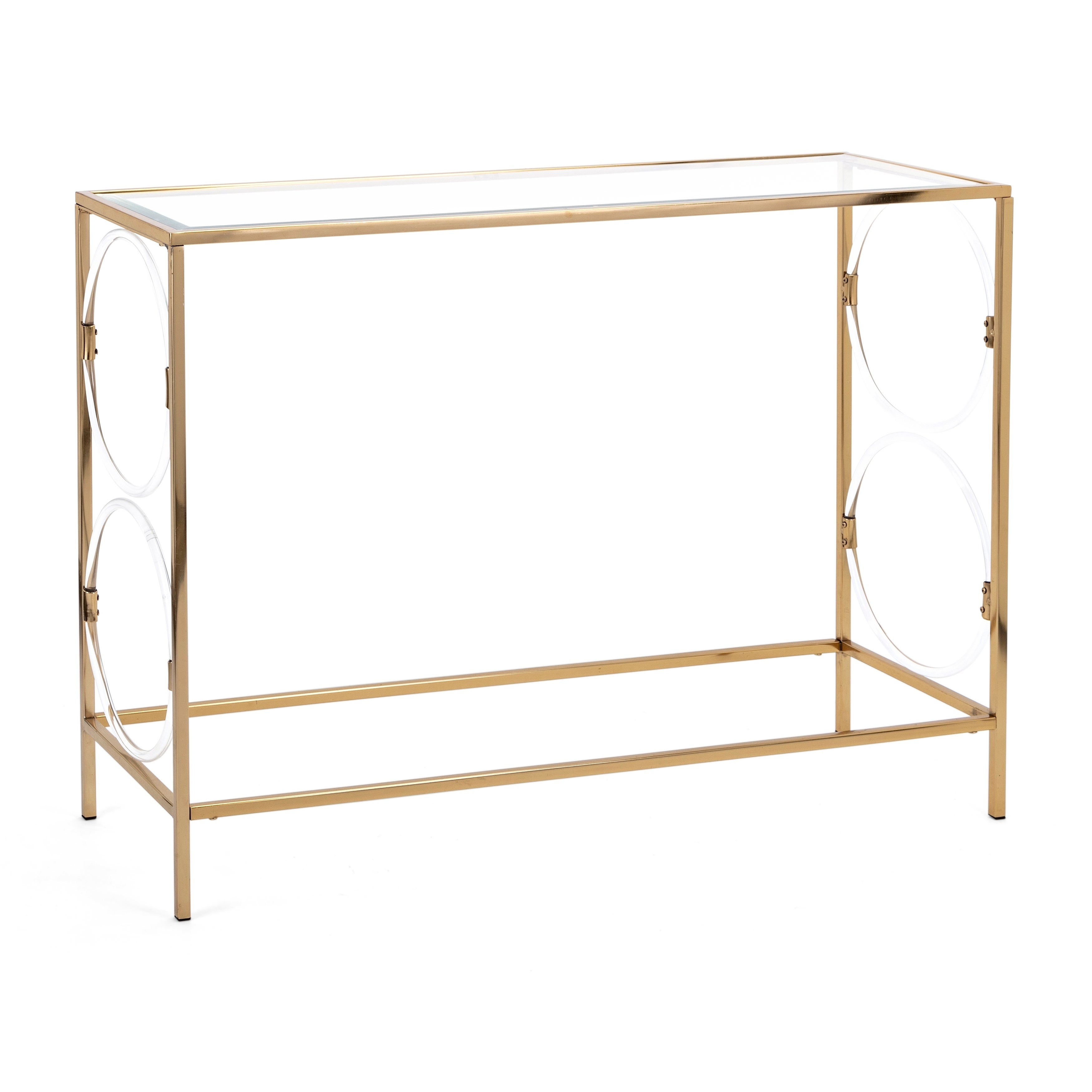 Picture of: Shop Iron Framed Rectangular Console Table With Beveled Glass Top Clear And Gold On Sale Overstock 27066132