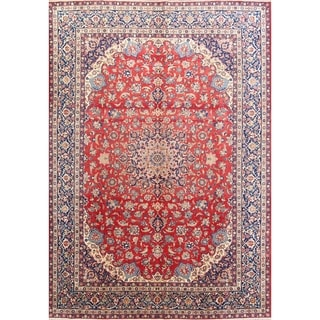 """Antique Isfahan Floral Hand Knotted Wool Persian Area Rug - 14'4"""" x 10'3"""""""
