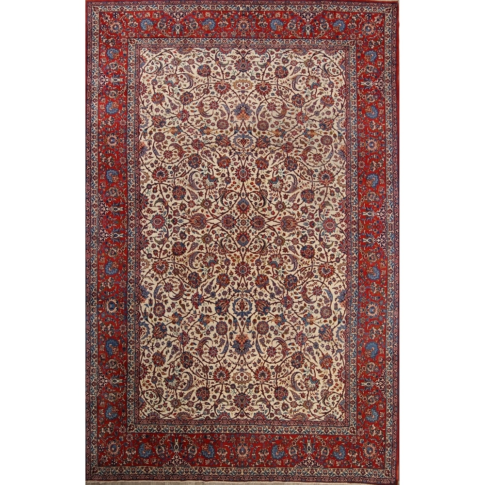 Rug Sourceantique Isfahan Floral Hand Knotted Kork Wool Persian Large Area Rug 15 7 X 10 1 15 7 X 10 1 Ivory Dailymail