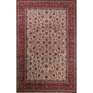 "Antique Isfahan Floral Hand Knotted Kork Wool Persian Large Area Rug - 15'7"" x 10'1"""