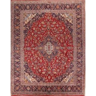 """Vintage Kashan Medallion Handmade Wool Persian Area Rug - 12'6"""" x 9'9"""""""