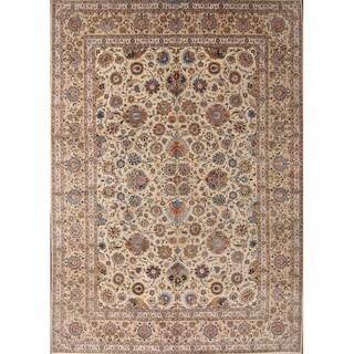"""Vintage Kashan Medallion Handmade Wool Persian Area Rug - 13'7"""" x 9'7"""""""