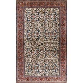 "Antique Isfahan Floral Hand Knotted Wool Persian Large Area Rug - 19'2"" x 11'7"""
