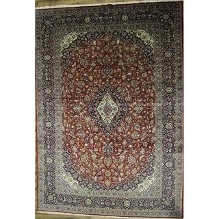 "Kashan Medallion Handmade Wool Persian Area Rug - 13'8"" x 9'7"""