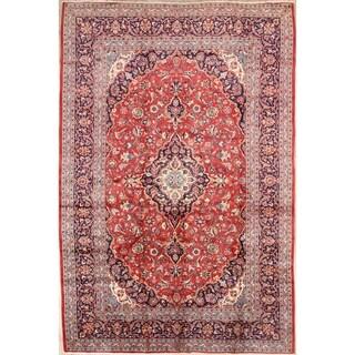 """Vintage Kashan Medallion Handmade Wool Persian Area Rug - 12'1"""" x 8'2"""""""