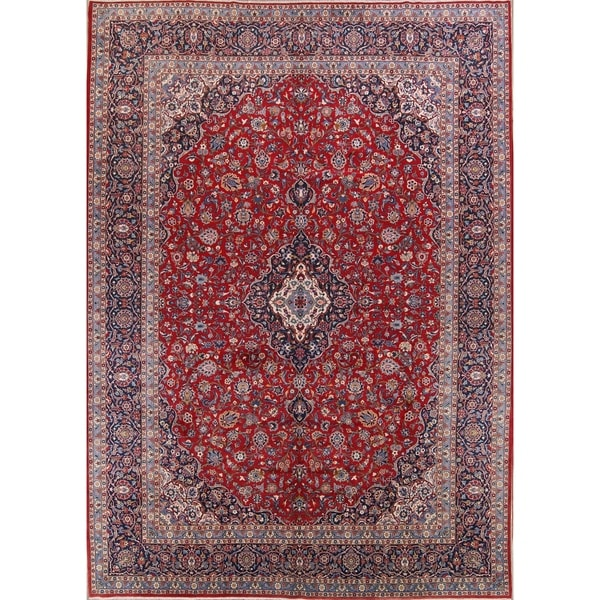 Hand Knotted Persian Kashan Wool Area Rug Ebth: Shop Antique Kashan Floral Hand Knotted Wool Persian Large