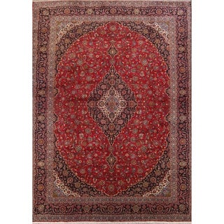 """Vintage Kashan Floral Hand Knotted Wool Persian Large Area Rug - 16'9"""" x 12'10"""""""