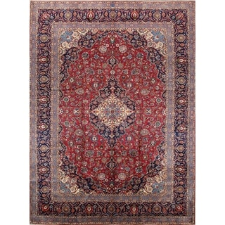 """Antique Kashan Floral Hand Knotted Wool Persian Area Rug - 13'3"""" x 9'9"""""""