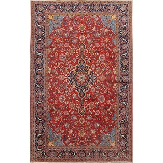 "Vintage Kashan Medallion Hand Knotted Wool Persian Area Rug - 10'8"" x 6'7"""