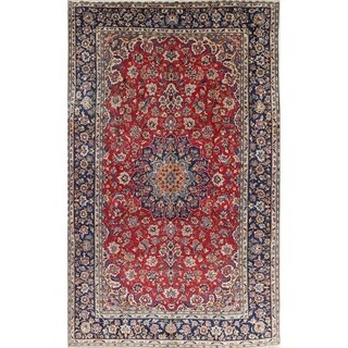 "Vintage Isfahan Medallion Hand Knotted Wool Persian Area Rug - 12'1"" x 7'8"""