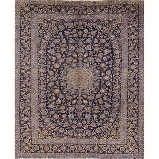 """Vintage Kashan Floral Handmade Wool Persian Area Rug - 13'7"""" x 9'11"""""""