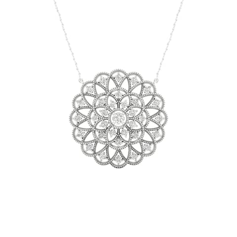 1/4ct TDW Diamond Filigree Circle Necklace in Sterling Silver by De Couer