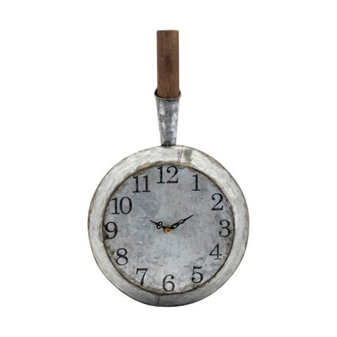 Frying Pan Shaped Iron Wall Clock with Wooden Handle, Gray and Black