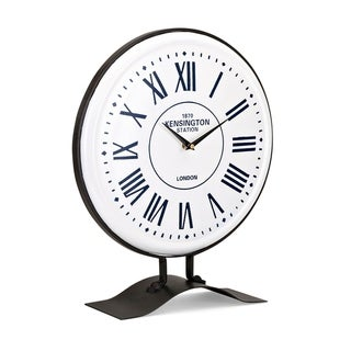 Retro Style Iron Table Clock with Roman Numbers, White and Black