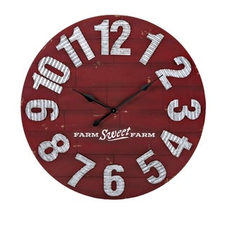 Rustic Style MDF Wood Wall Clock with Galvanized Iron Numbers, Red and Gray