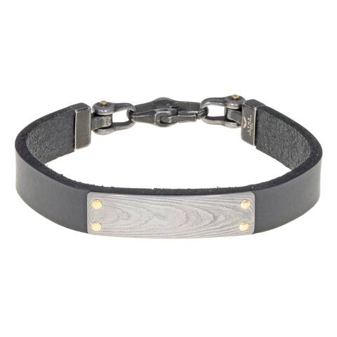Black Leather Identification Bracelet with Damascus Steel and Goldtone Ion Plated Screw Accent