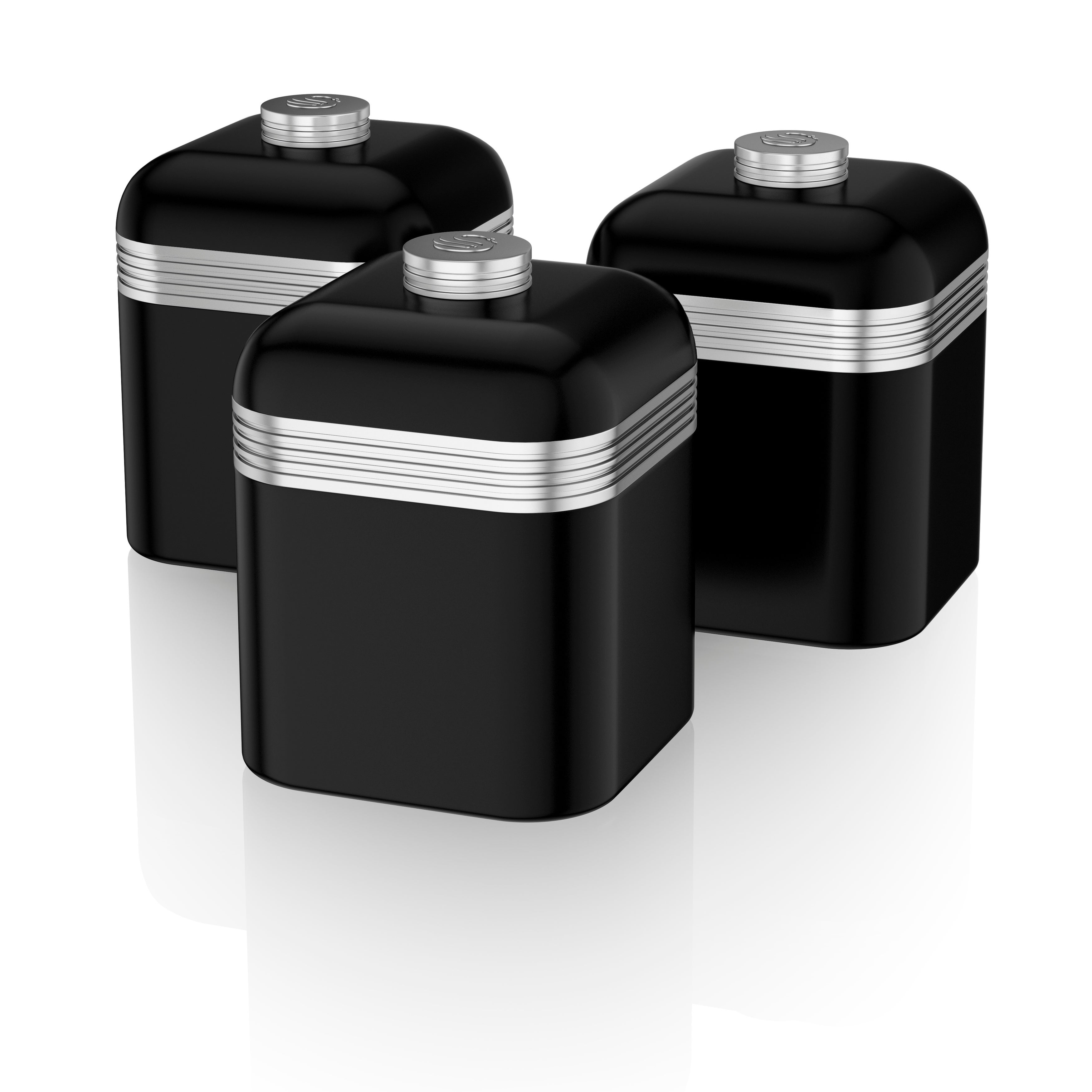 Delicieux Retro 3 Cannisters Black