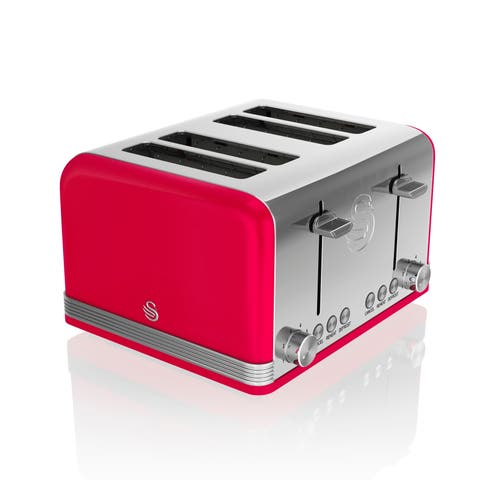Retro 4 Slice Toaster Red