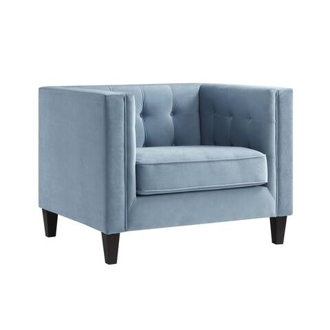 Paolo Velvet Tufted Club Chair - Square Arms, Tapered Legs