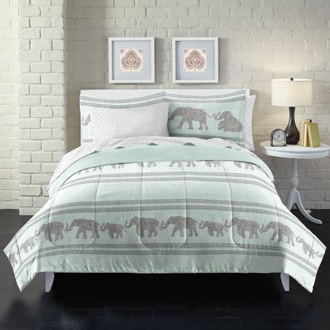 Boho Elephant 7-piece Bed in a Bag with Sheet Set