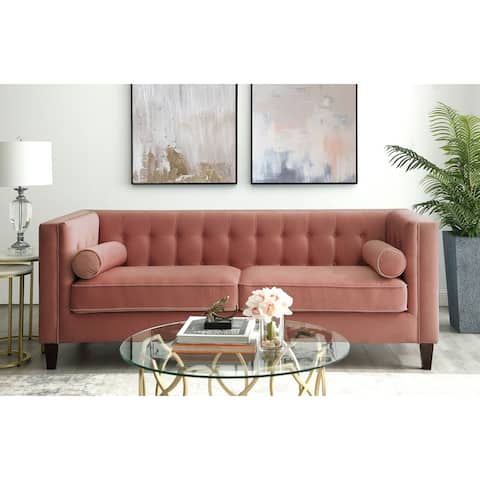 Paolo Velvet Button Tufted Sofa - Square Arms, Tapered Legs