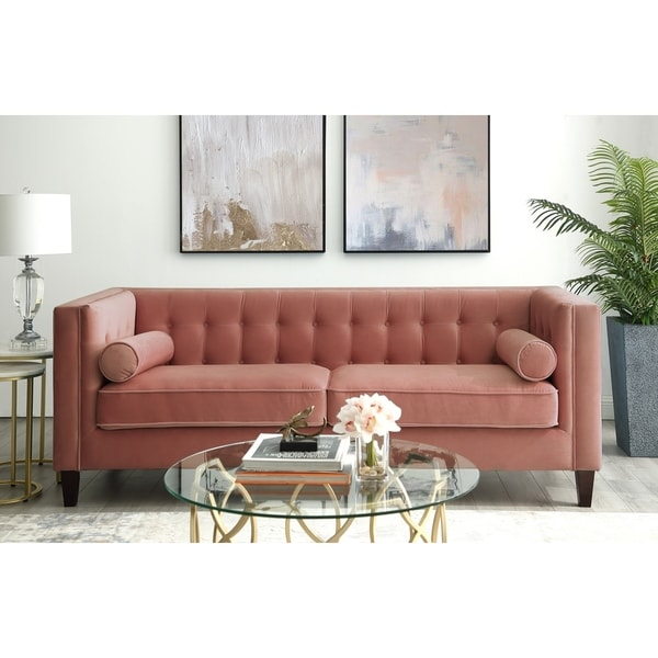 Paolo Velvet Button Tufted Sofa - Square Arms, Tapered Legs. Opens flyout.