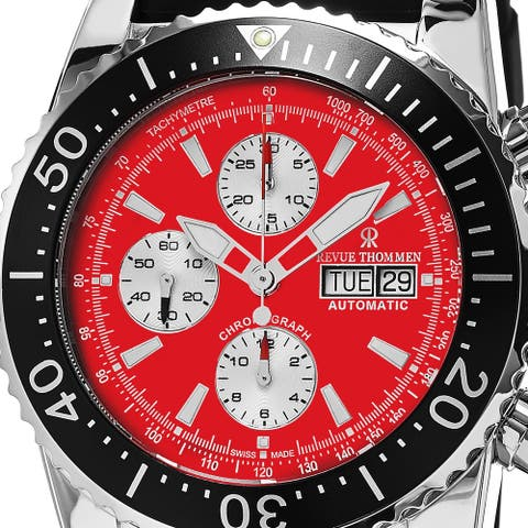 Revue Thommen Men's 17030.6536 'Air Speed' Red Dial Black Rubber Strap Chronograph Automatic Swiss Made Watch