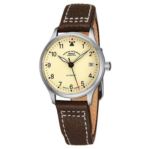 Muhle Glashutte Women's M1-37-87-LB 'Terra Sport' Cream Dial Brown Leather Strap Automatic Watch