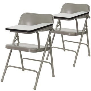 2PK Premium Steel Beige Folding Chair with Left Handed Tablet Arm - Event Chair