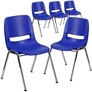 "5PK 661 lb. Capacity Ergonomic Stack Chair w/ Black Frame-16"" Seat Height"