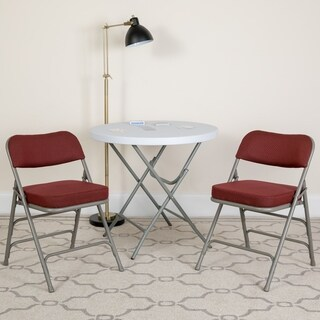 "2PK 18.5""W Premium Curved Triple Braced Metal Folding Chair"