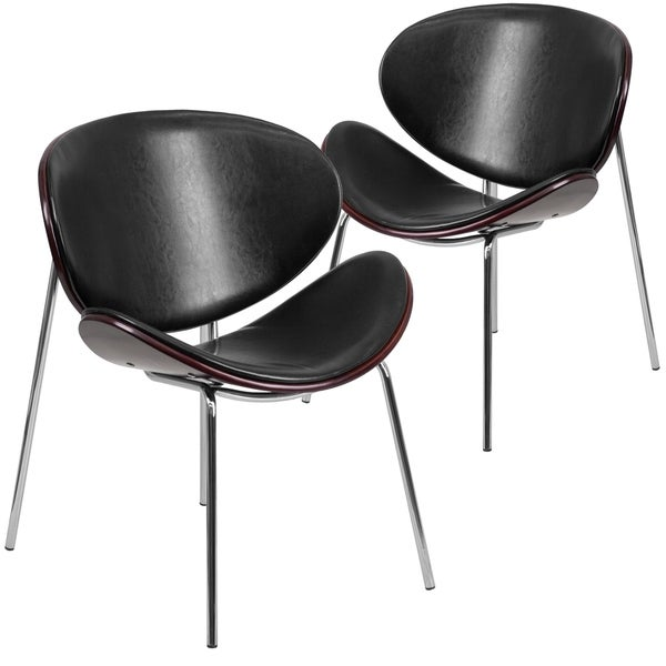 2PK Mahogany Bentwood Side Reception Chair w/Padded Black LeatherSoft Seat