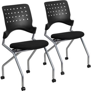 2PK Galaxy Mobile Nesting Chair with Curved Back and Black Fabric Seat