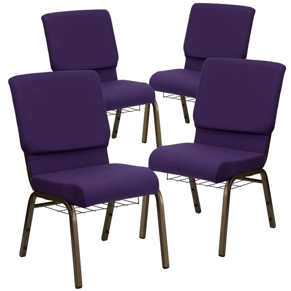 """4PK 18.5""""W Church Chair with Cup Book Rack - Silver Vein Frame"""