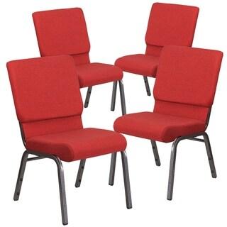"4PK 18.5""W Stacking Church Chair - Silver Vein Frame"
