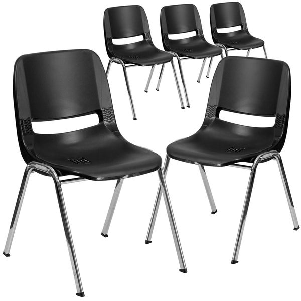"""5PK 440 lb. Rated Kid's Shell Stack Chair-Black Frame-14"""" Seat Height"""